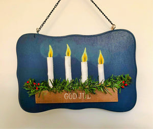 Wood Plaque with Advent Candles