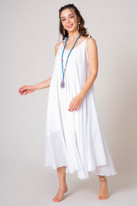 White Midi V-neck loose A-line cotton dress with thin ribbon straps