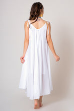 Load image into Gallery viewer, White Midi V-neck loose A-line cotton dress with thin ribbon straps