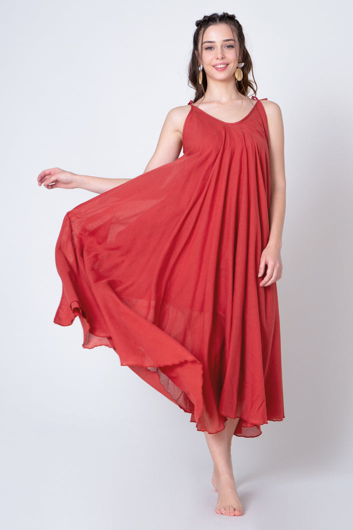 Brick Red Midi V-neck loose A-line dress with thin ribbon straps