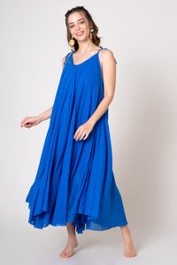 Blue Midi V-neck loose A-line cotton dress with thin ribbon straps