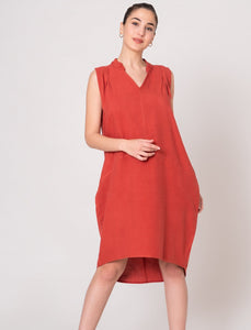 Brick Red Band Collar Sleeveless Dress with Pockets Knee High Dress Hi Low Hem