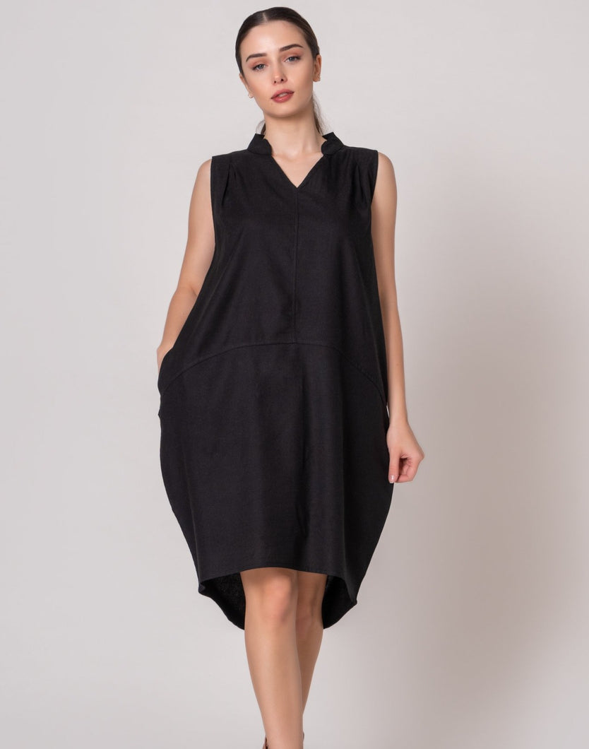 Black Band Collar Sleeveless Dress with Pockets Knee High Dress Hi Low Hem