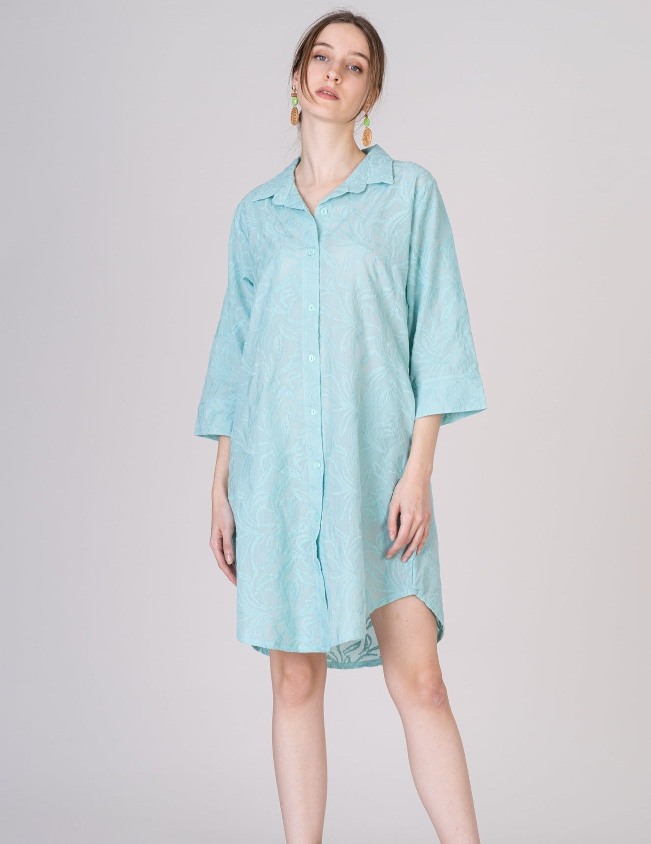 Mint Green Short Cotton Shirt Dress 3/4 Sleeves