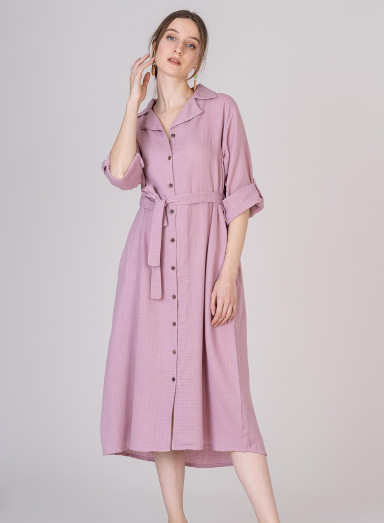 Pink Blush Midi Cotton Shirt Dress Matching Belt Adjustable Sleeves