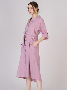 Organic pink cotton shirt dress, pockets, matching belt, adjustable sleeves, brown buttons.