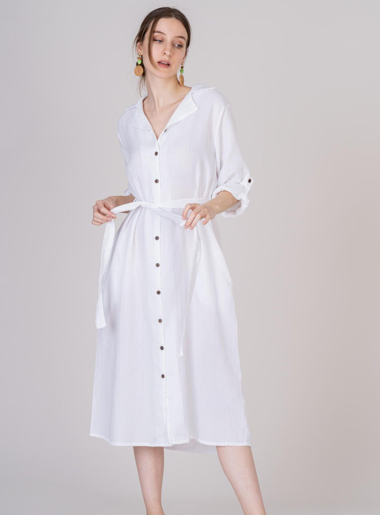White Midi Cotton Shirt Dress Matching Belt Convertible Sleeves