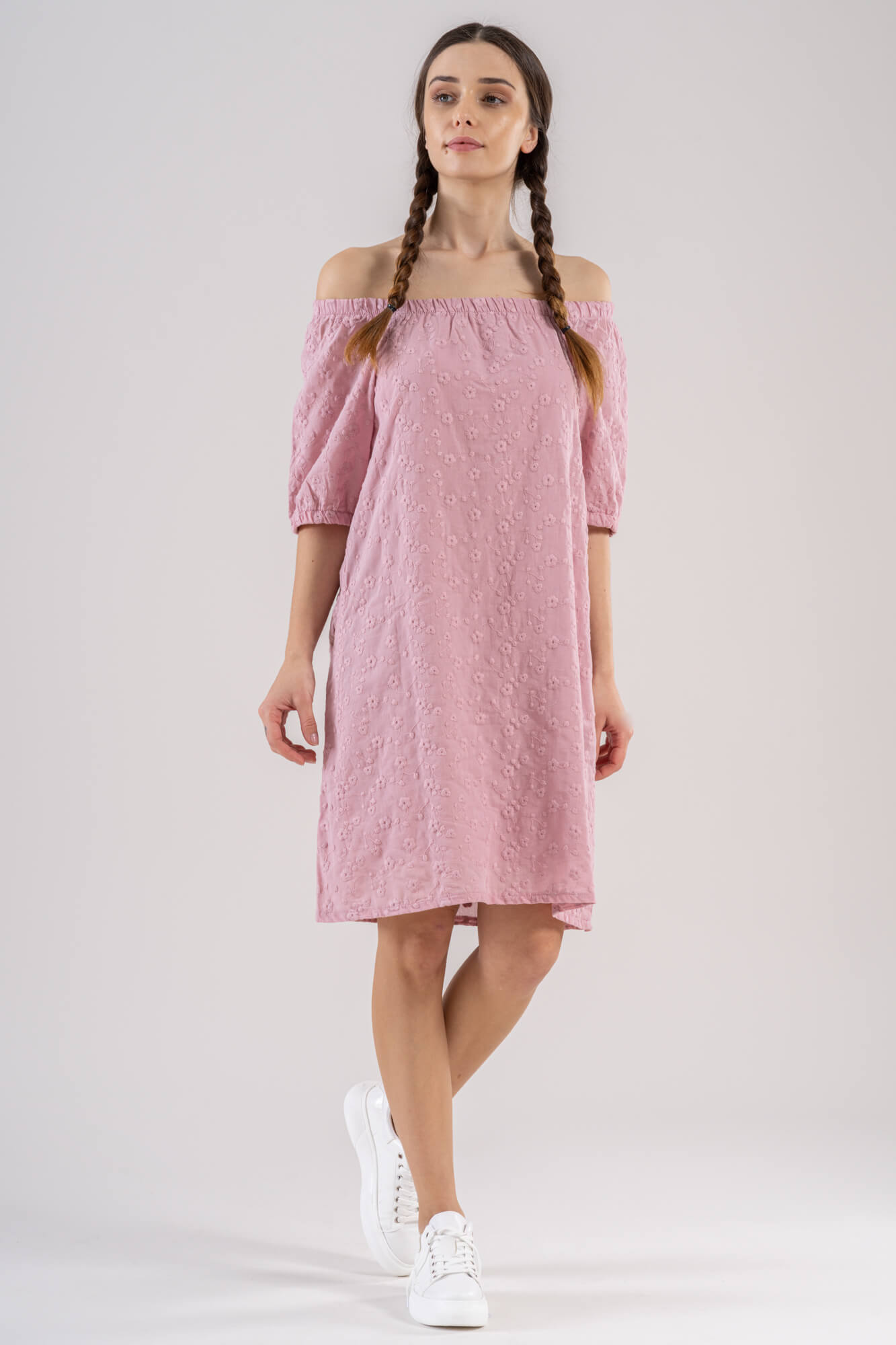 Blush pink embroidered cotton off the shoulder knee length short dress 3/4 sleeves