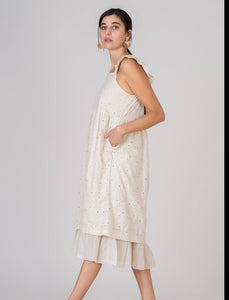 Beige Ruffled Strap Eyelet Empire Waist Lined Cotton Dress  with Pockets