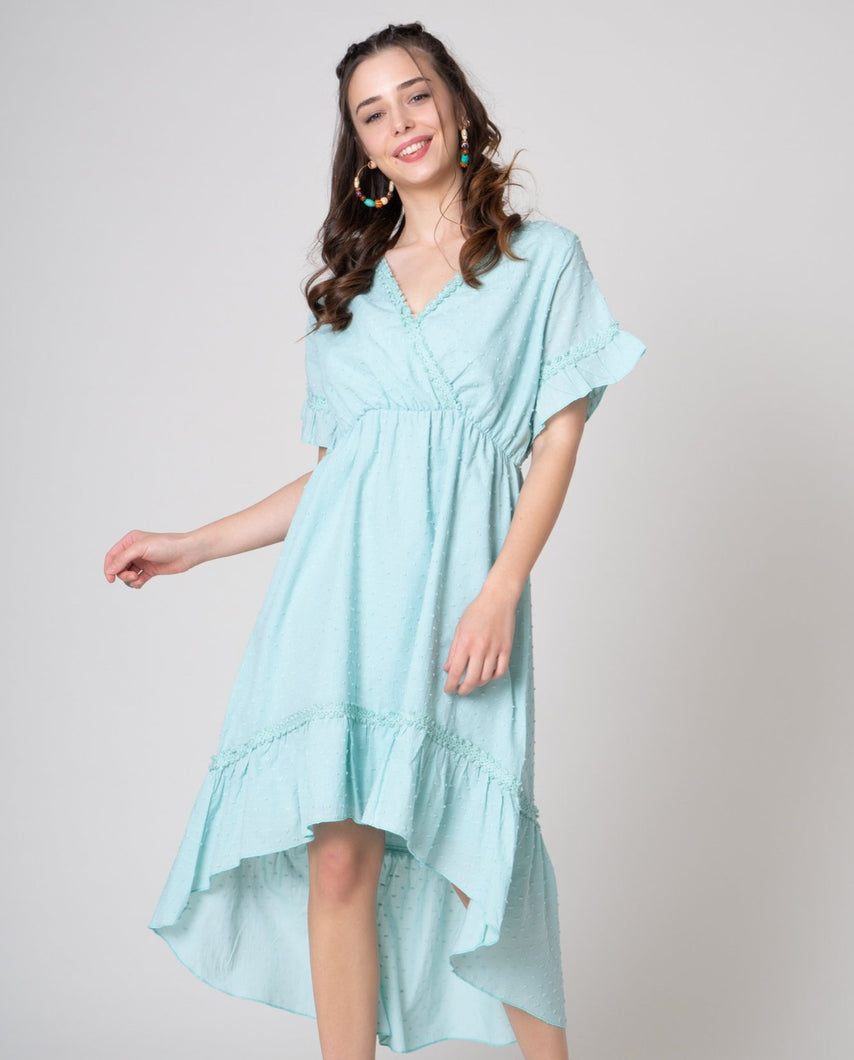 Mint green Swiss dot fabric dress in hi low hem line and ruffle arms v-neck