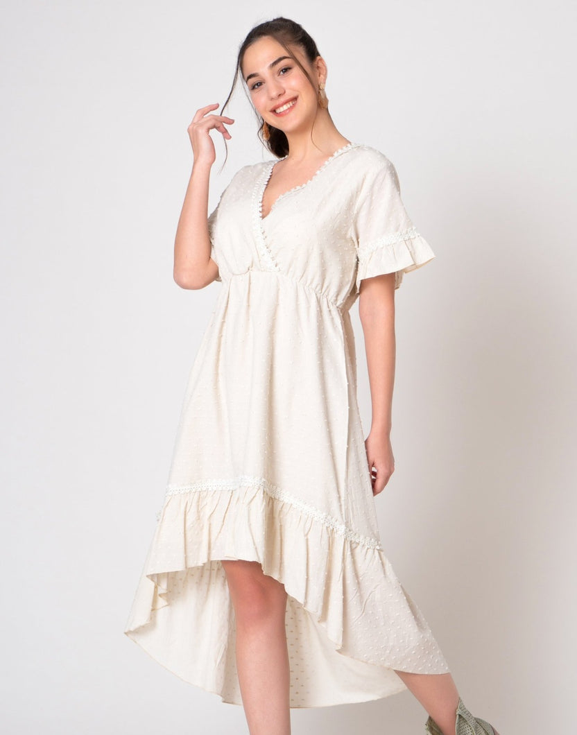 Beige Swiss dot fabric dress in hi low hem line and ruffle arms v-neck