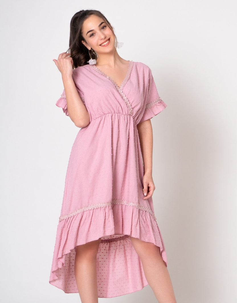 Blush pink Swiss dot fabric dress in hi low hem line and ruffle arms v-neck