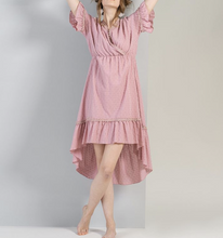 Load image into Gallery viewer, Blush pink Swiss dot fabric dress in hi low hem line and ruffle arms v-neck