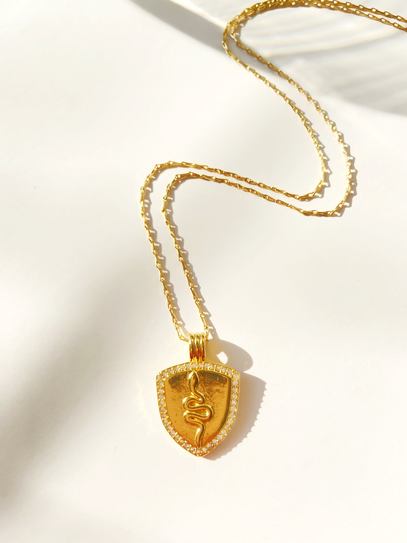 Gold Filled Shield Shaped Snake pendant necklace with micro pave crystals eding