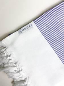White Turkish Towel with thin blue stripes