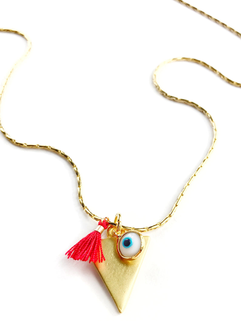Water Element Symbol and Evil Eye Necklace with Red Tassel