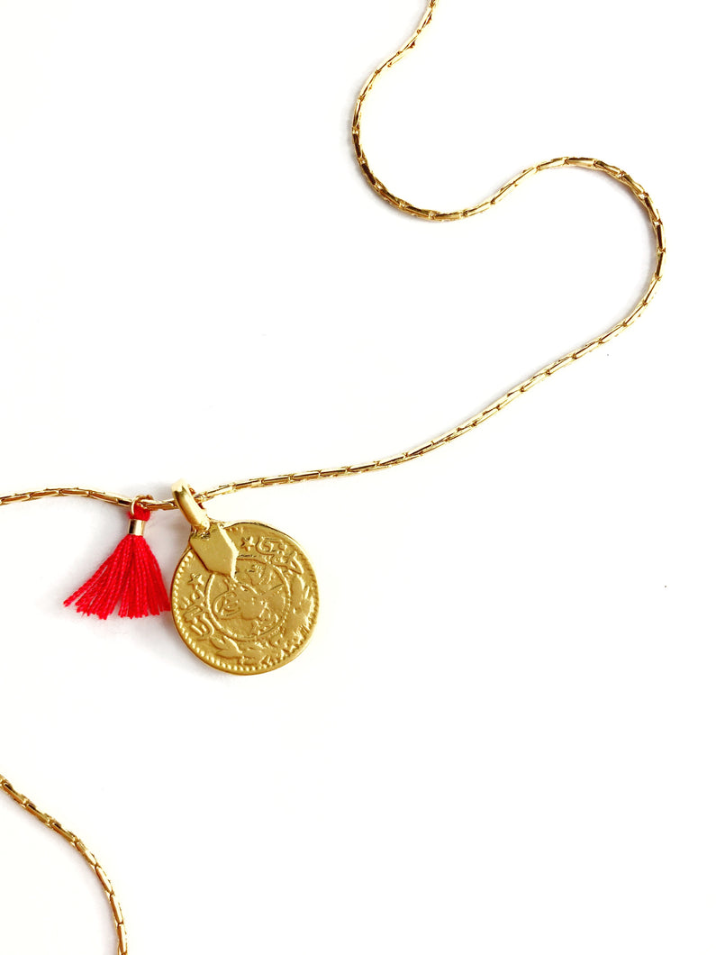 Golden Ottoman Coin Necklace and Red Tassel