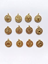 Load image into Gallery viewer, gold filled horoscope zodiac pendants charms with crystals