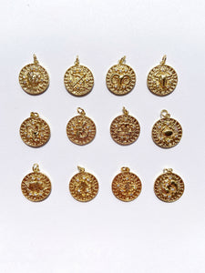 gold filled horoscope zodiac pendants charms with crystals
