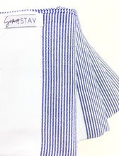 Load image into Gallery viewer, White Turkish Towel with thin blue stripes