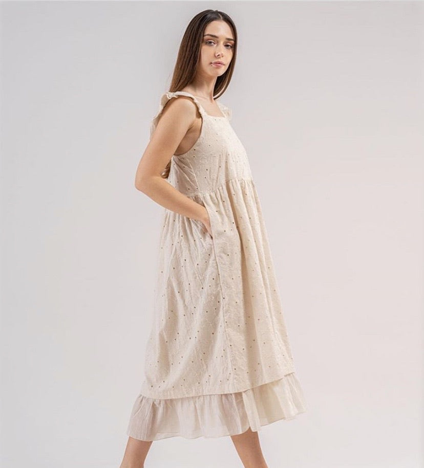 Beige Ruffled Strap Eyelet Empire Waist Lined Cotton Dress