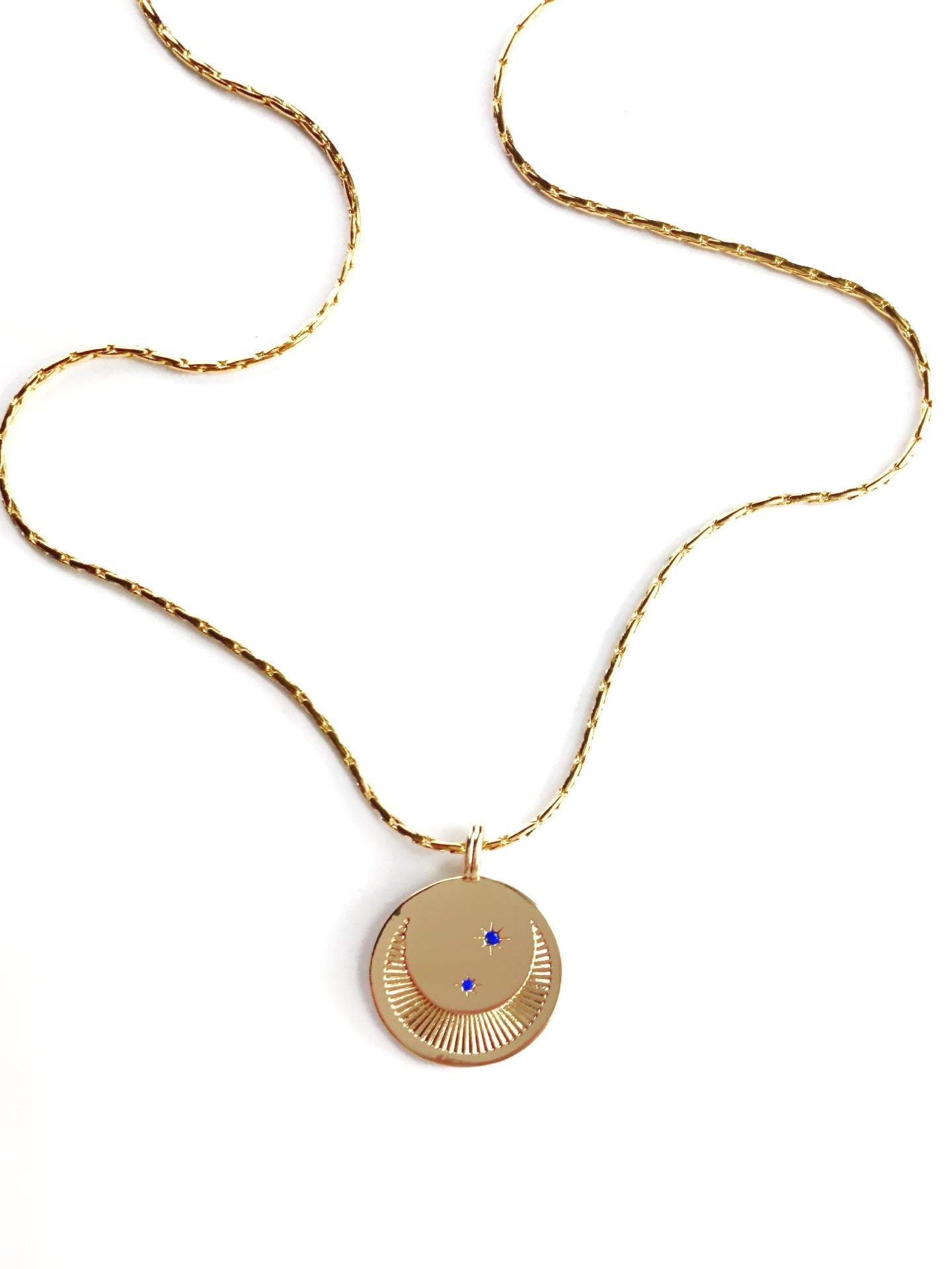 Gold Filled Medallion Moon and Blue Crystal Stars Necklace