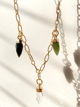 Load image into Gallery viewer, three faceted crystal dagger charms on a gold plated chain necklace black crystal, clear quartz crystal, green crystal Faceted Dagger Necklace