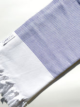 Load image into Gallery viewer, Blue Striped Turkish Towel