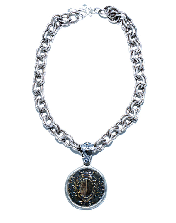 Silver Chain with Coin Medallion