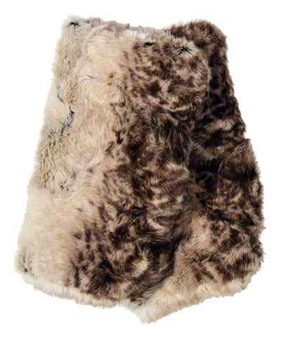 FINGERLESS/TEXTING GLOVES REVERSIBLE-FAWN FAUX FUR