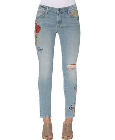Marilyn Knee Destructed Embroidered Skinny Jeans