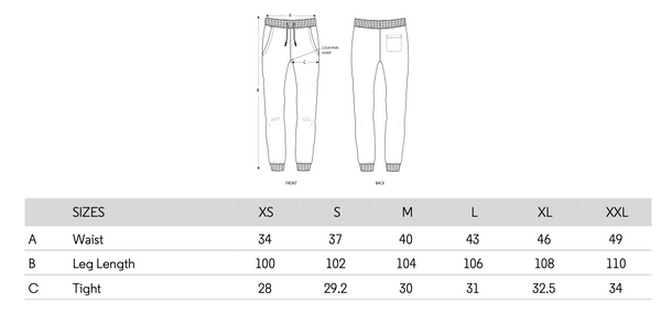 SIZING CHART SWEAT PANT