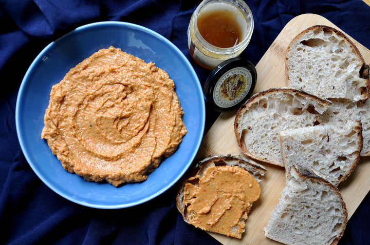 Roasted Red Pepper and Eggplant Dip with Macadamia Nut Honey