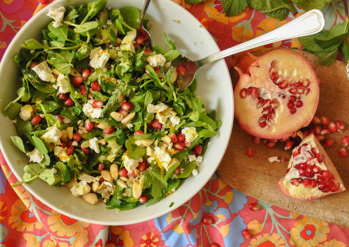 Quinoa, Pomegranate and Pea Shoot Salad with Citrus-Honey Dressing