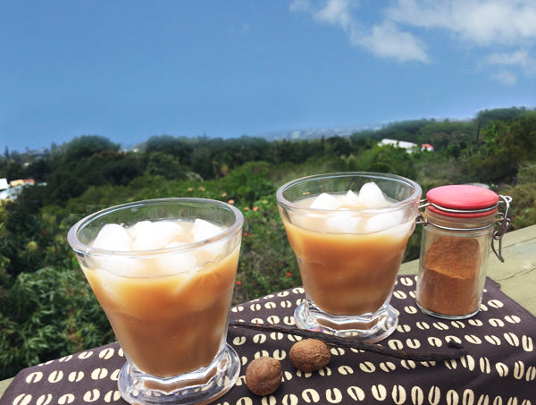 Iced coffee on lanai