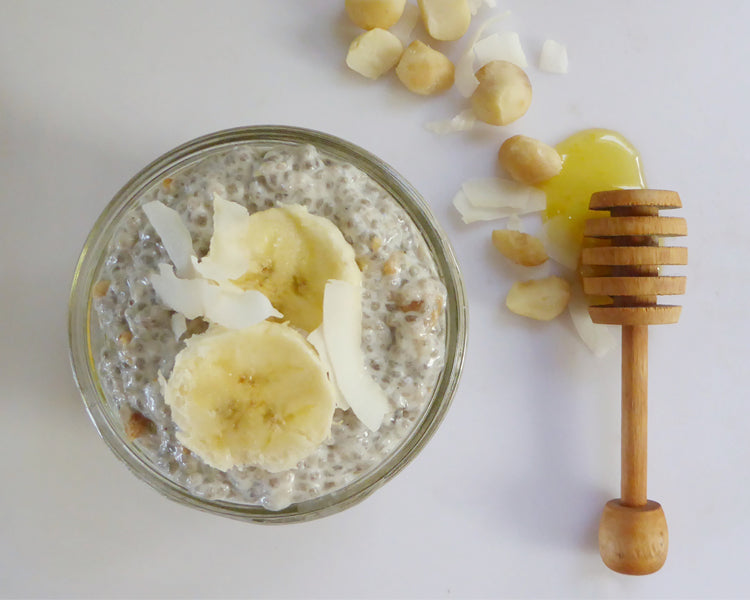 raw lehua and vanilla honey chia seed pudding