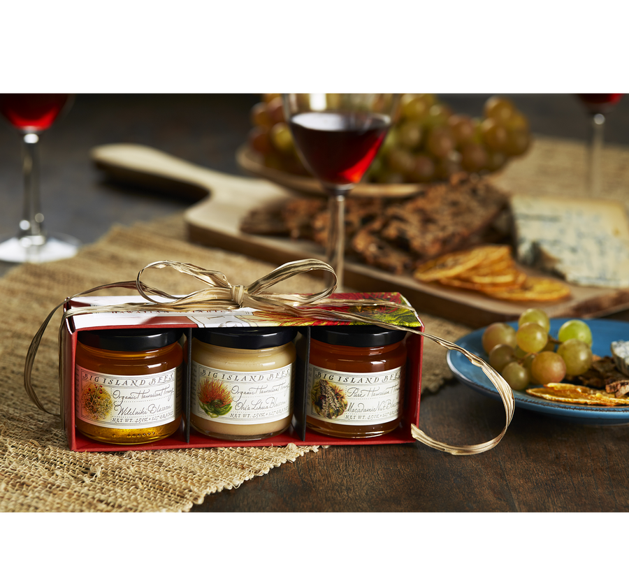 holiday gift set of 4.5 oz jars of honey