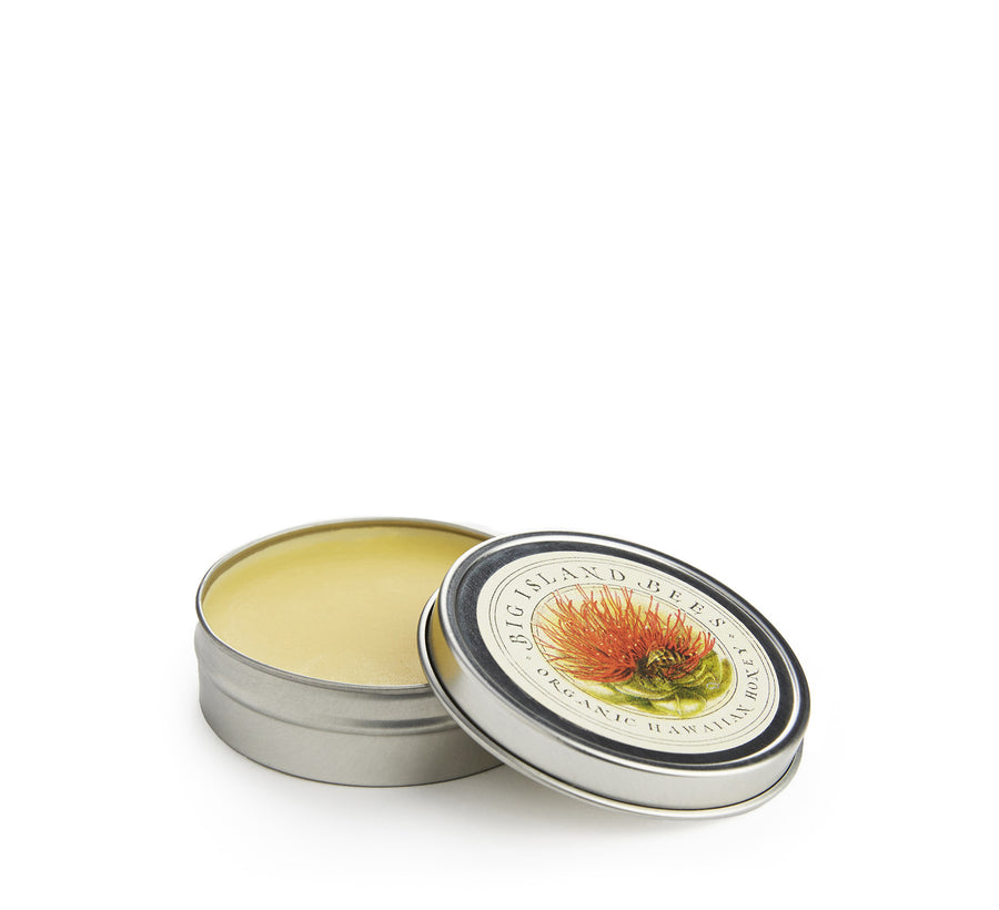natural dry skin remedy in tin with lid off