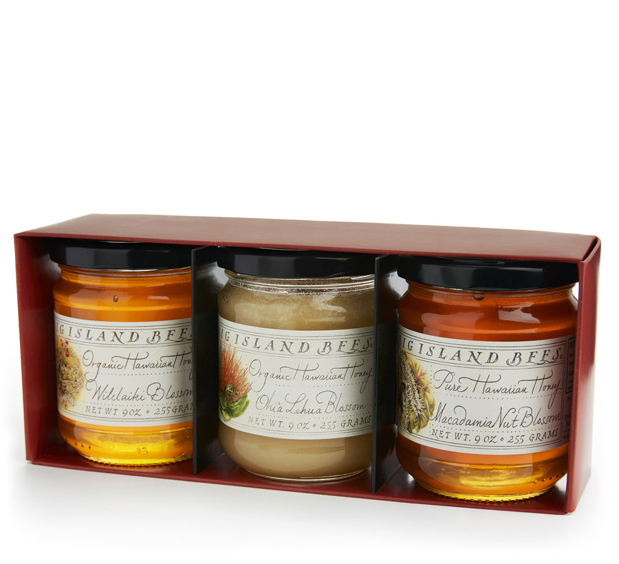 gourmet raw Hawaiian honey gift set of three 9 oz jars