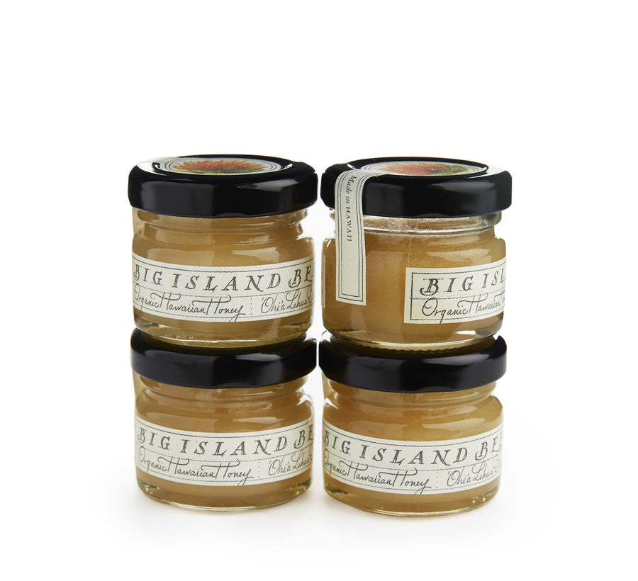 mini honey jars of organic lehua honey