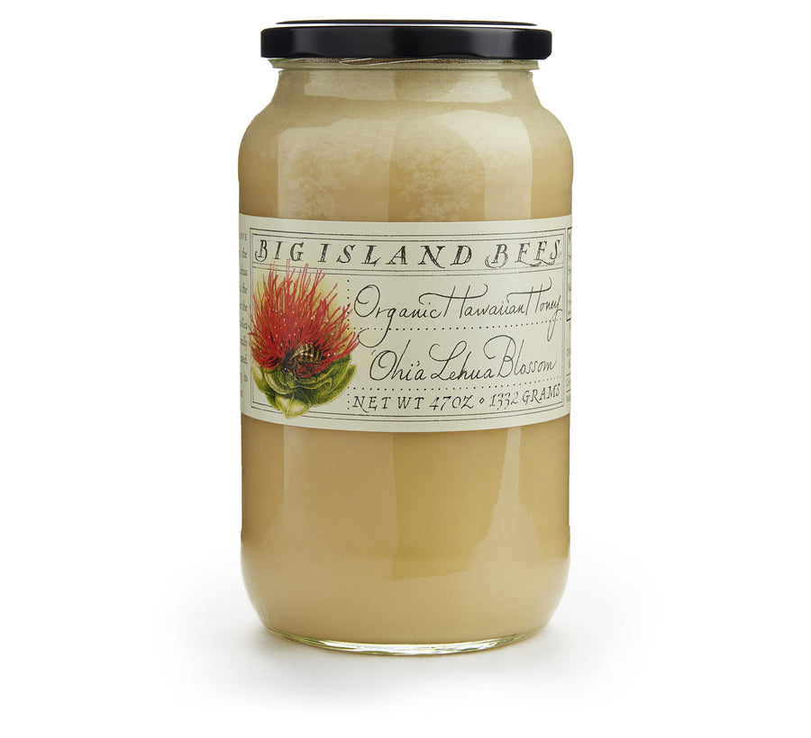 large jar of raw honey, organic Hawaiian lehua honey