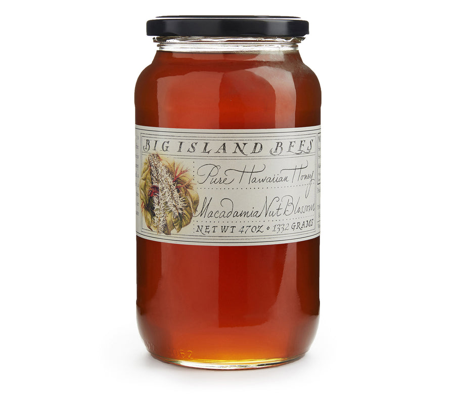 large jar of raw honey, pure Hawaiian macadamia honey