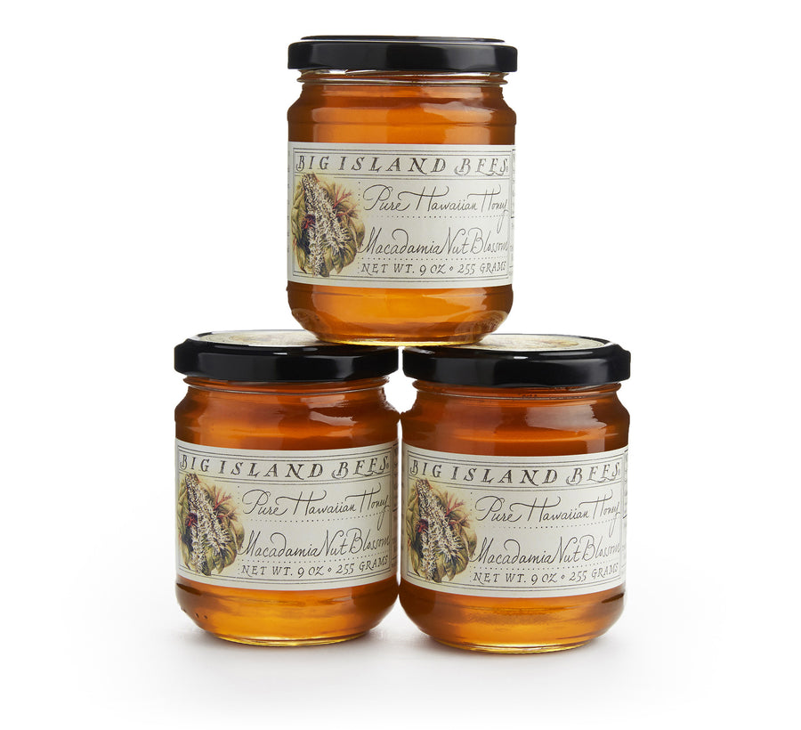 three 9 oz jars of big island macadamia nut blossom honey