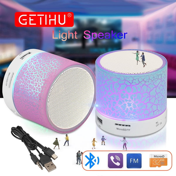 GETIHU Mini Portable Bluetooth Speaker LED Wireless Column Hands Free Phone Loudspeaker TF USB FM Aux Mic Bass Sound Music Radio