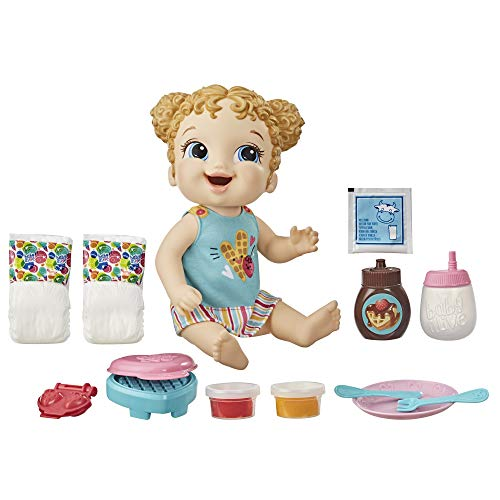 Baby Alive Breakfast Time Baby Doll with Waffle Maker, Accessories, Drinks, Wets, Eats, Blonde Hair Toy for Kids Ages 3 Years and Up