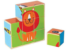 Load image into Gallery viewer, Hape-Wooden Zoo Animals Block Puzzle