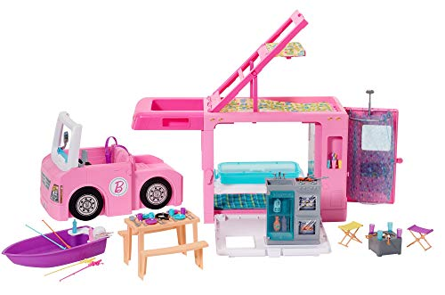 Barbie 3-in-1 DreamCamper Vehicle, Transforming Camper with Pool, Truck, Boat & 60 Accessories