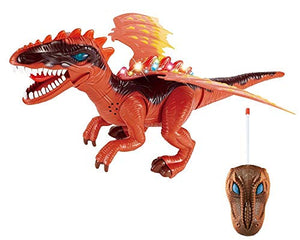 Remote Control Big Walking Dinosaur with Amazing Lights (Red) with Flashing Lights and Realistic Dinosaur Sounds Children's Kids Toy