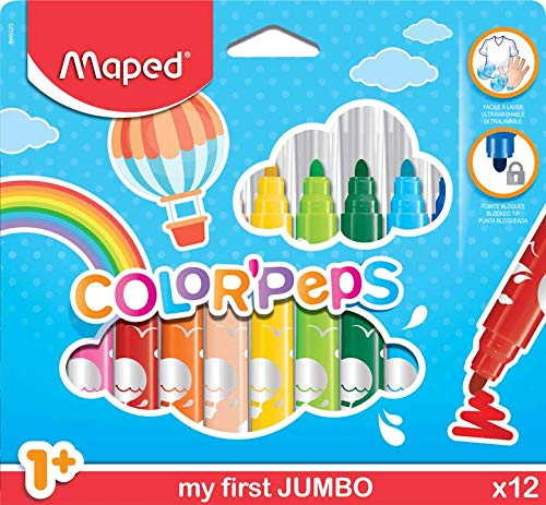 Maped Large Tip Washable Felt Marker Set - Pack of 12