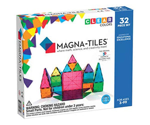 Magna-Tiles Magnetic Building Toys, Clear Colors Set, Multi Color (32 Pieces)